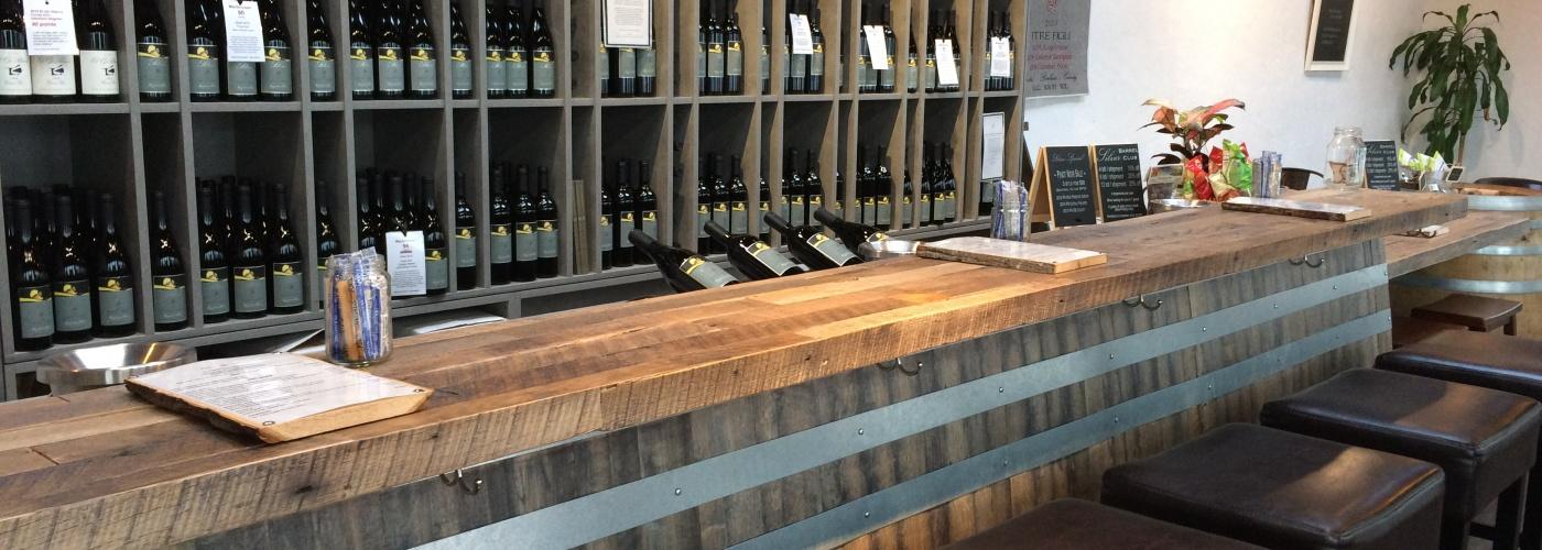 wood tasting bar